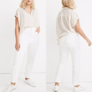 Madewell High Rise Slim BoyJean Tile White 35 NWT